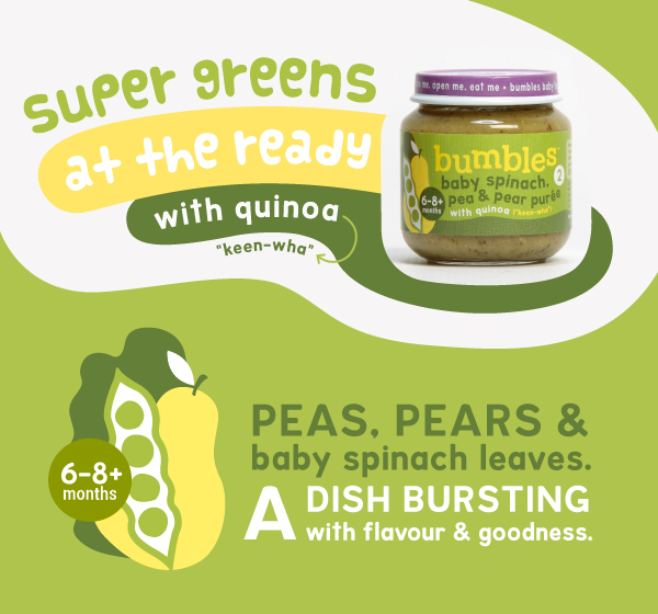 bumbles baby food spinach peas pears puree